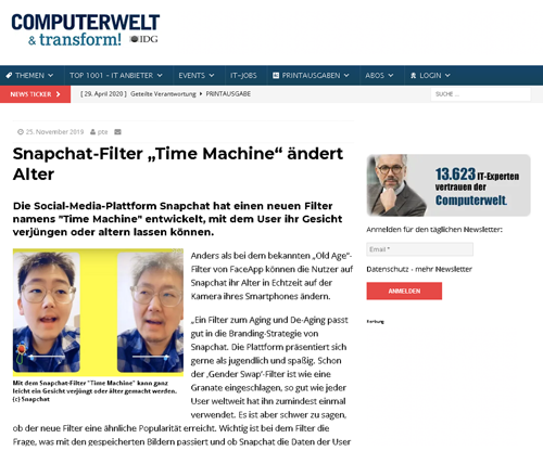 Tim Weisheit Presseartikel Computerwelt zu Snapchat