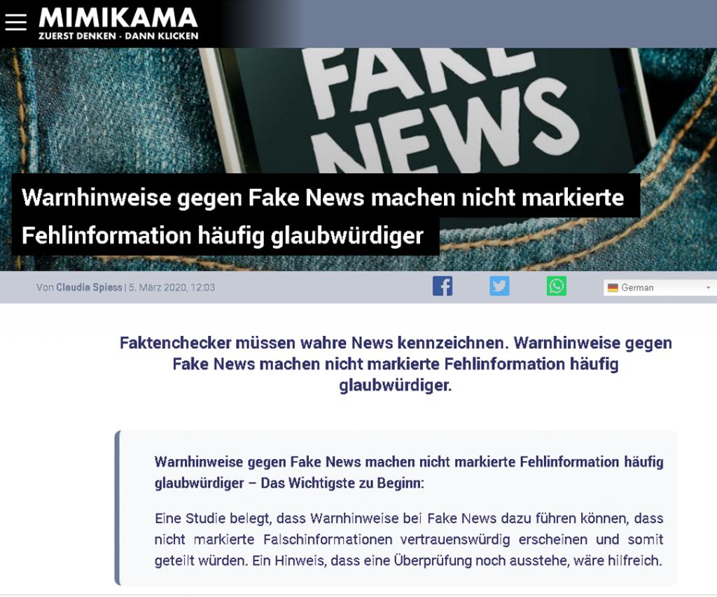 Tim Weisheit Presseartikel Mimikama zu Fake News